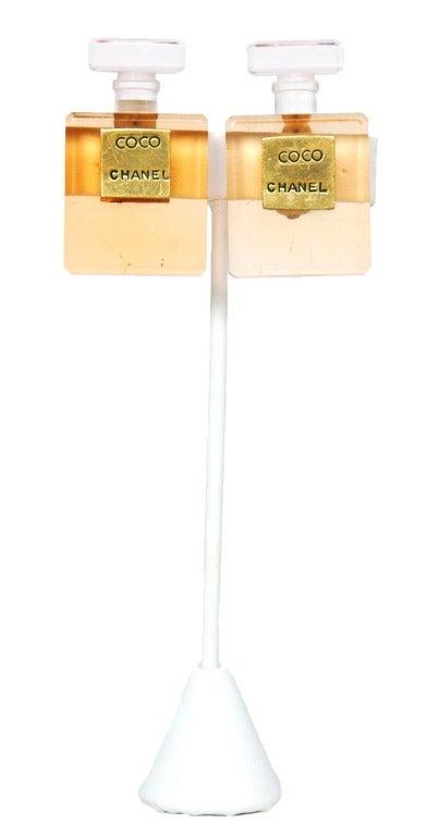 CHANEL Orange Resin Coco Chanel Perfume Bottle Clip-On Earrings 2