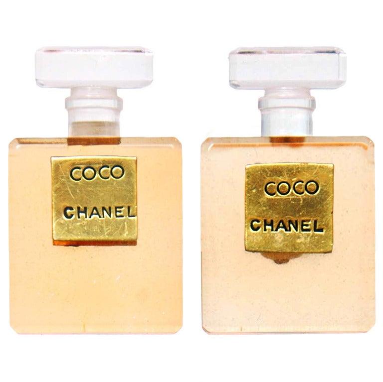 CHANEL Orange Resin Coco Chanel Perfume Bottle Clip-On Earrings 1
