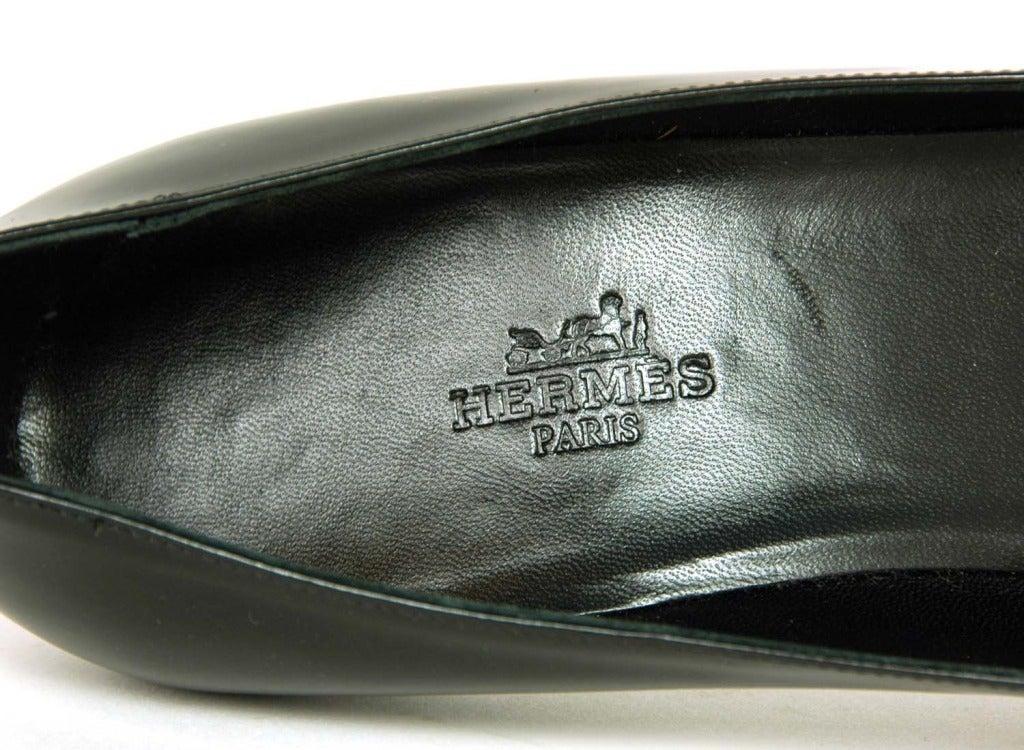 HERMES '11 Black Leather Medor Pumps Shoes sz.41 rt.$1000 For Sale 1