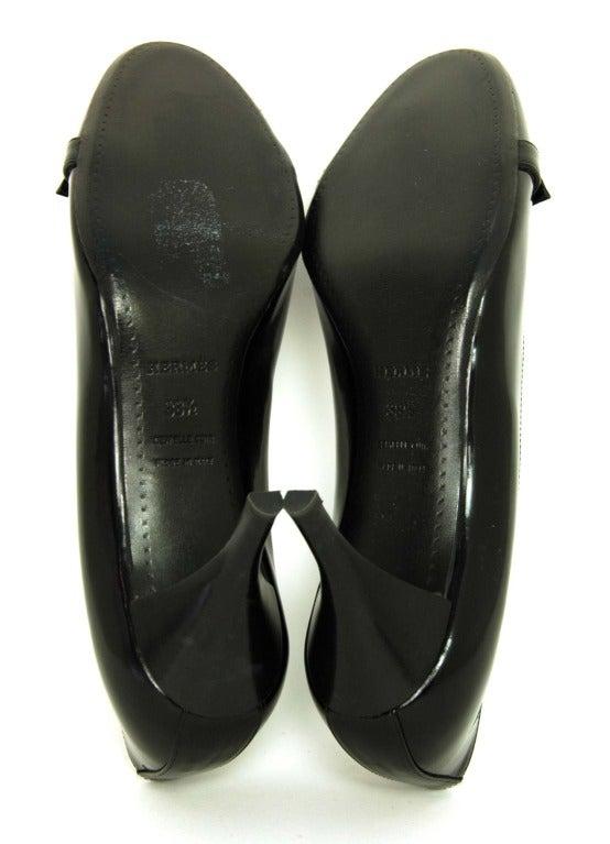 HERMES '11 Black Leather Medor Pumps Shoes sz.41 rt.$1000 For Sale 2