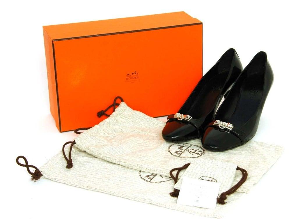 HERMES '11 Black Leather Medor Pumps Shoes sz.41 rt.$1000 For Sale 3