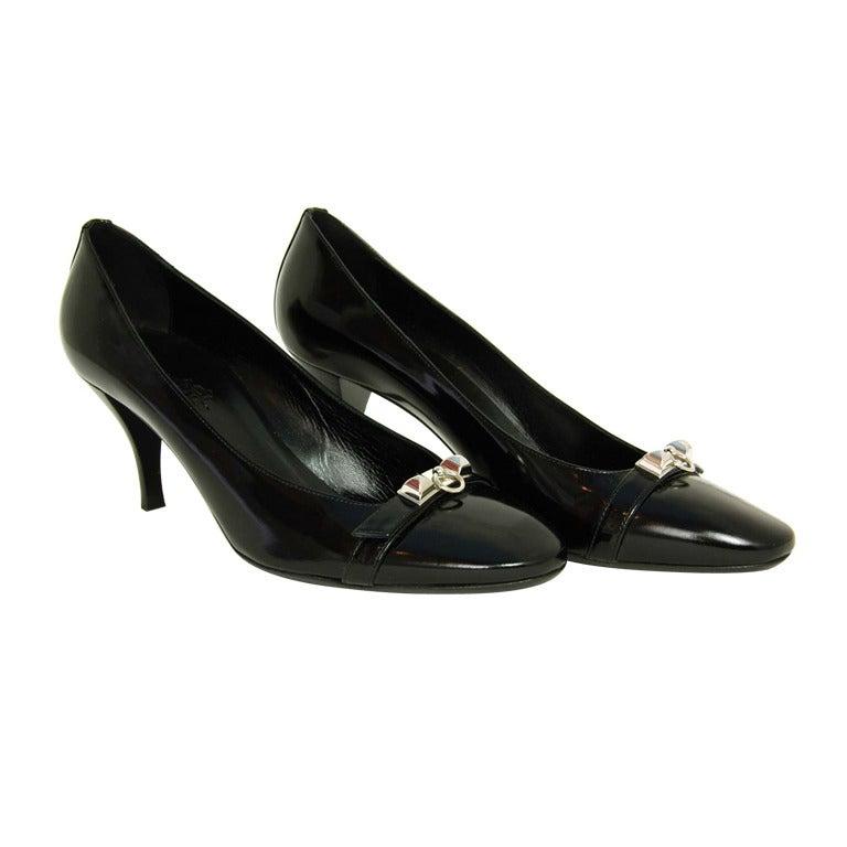 HERMES '11 Black Leather Medor Pumps Shoes sz.41 rt.$1000 For Sale