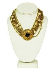 Chanel Vintage 12 Strand Gold Chain & Pearl Choker W. Circle Medallion c. 1983