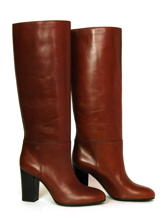 CHANEL Brown Leather Tall Boot W. Stacked Heel Sz. 39.5 In Excellent Condition In New York, NY