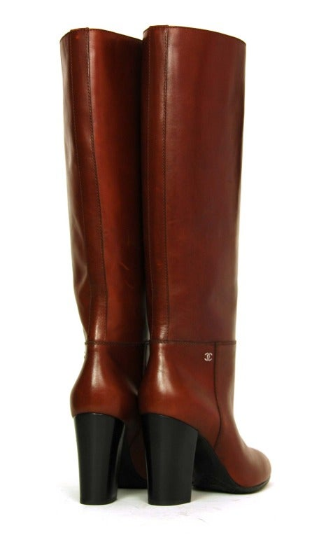Women's CHANEL Brown Leather Tall Boot W. Stacked Heel Sz. 39.5