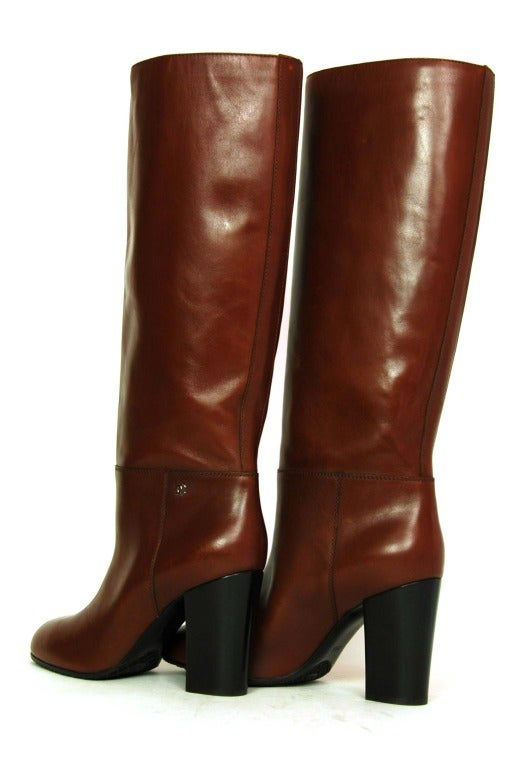 CHANEL Brown Leather Tall Boot W. Stacked Heel Sz. 39.5 1