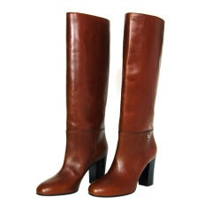CHANEL Brown Leather Tall Boot W. Stacked Heel Sz. 39.5