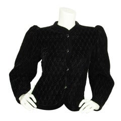 Yves Saint Laurent Vintage Black Velvet Quilted Jacket Sz. 34