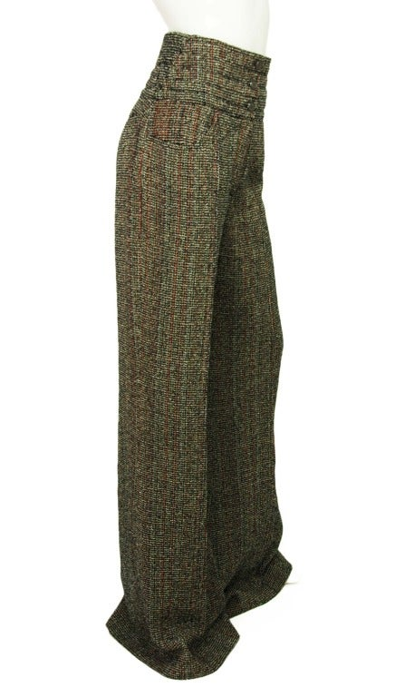 CHANEL NWT Red & Black Tweed Wide Leg, High Waisted Pants Sz. 40 RT. $1,240 2