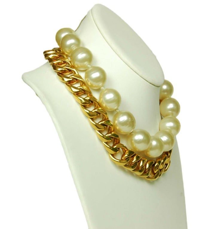 CHANEL Gold Link & Pearl Two Strand Choker Necklace 1993 2