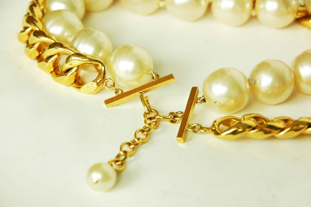 CHANEL Gold Link & Pearl Two Strand Choker Necklace 1993 3