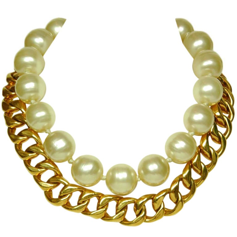 CHANEL Gold Link & Pearl Two Strand Choker Necklace 1993 1