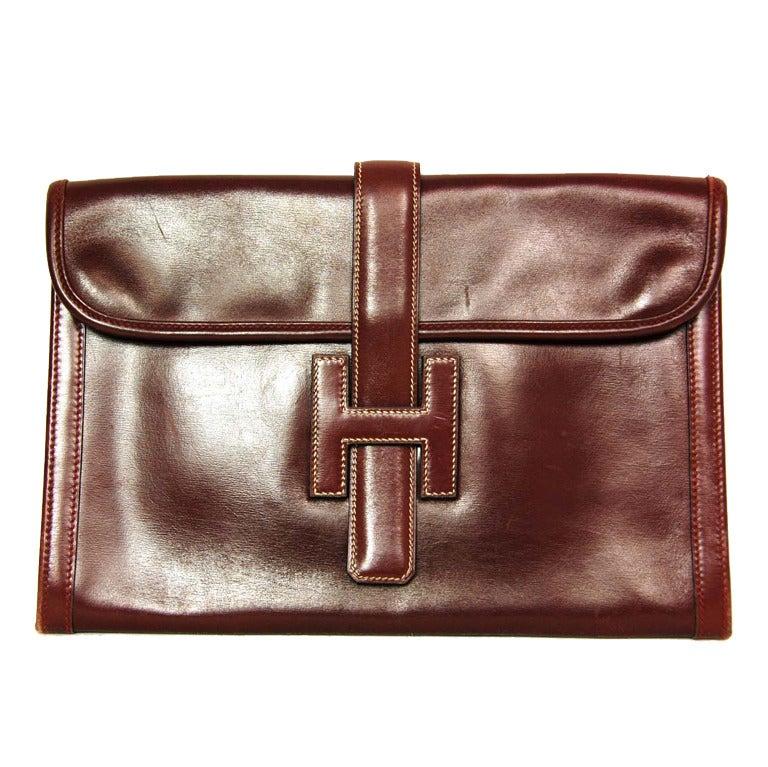 Hermes Burgundy Leather Vintage Jige Clutch at 1stdibs