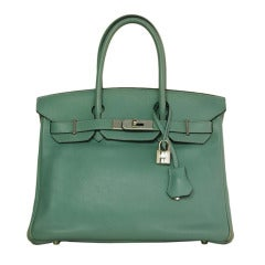 HERMES 2009 Ciel Blue Swift Leather 30cm Birkin Bag