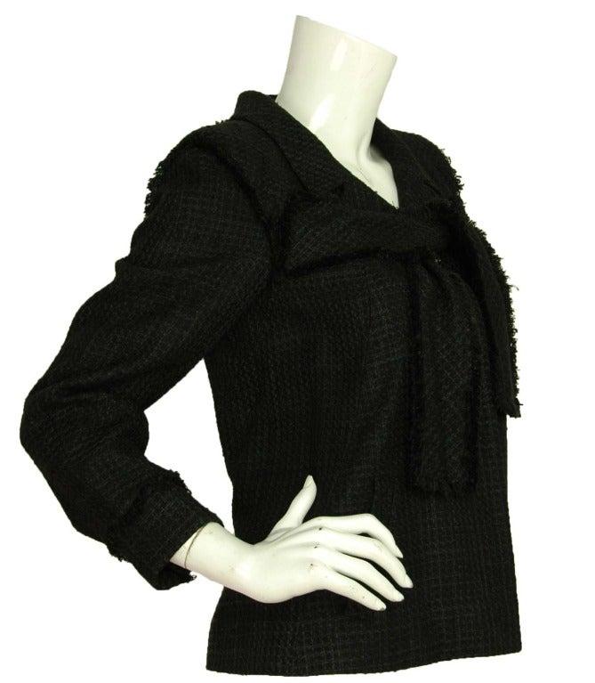 CHANEL Black Boucle Cropped Jacket W. Attached Neck Tie Sz. 38 c. 2009 2