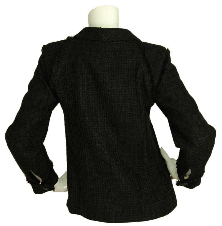 CHANEL Black Boucle Cropped Jacket W. Attached Neck Tie Sz. 38 c. 2009 3