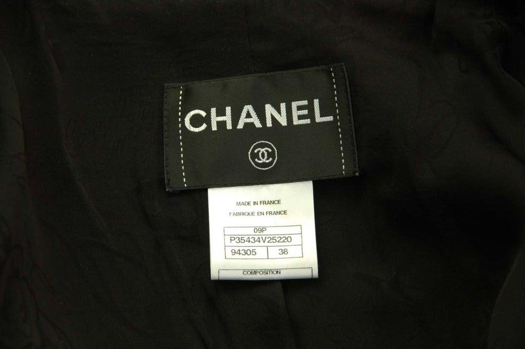 CHANEL Black Boucle Cropped Jacket W. Attached Neck Tie Sz. 38 c. 2009 4