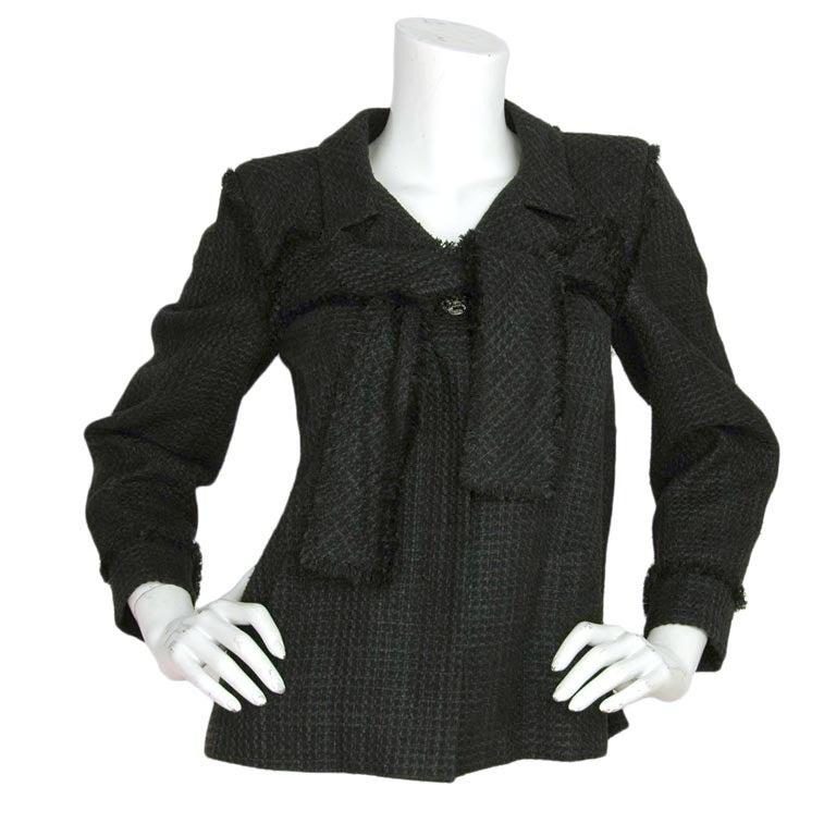 CHANEL Black Boucle Cropped Jacket W. Attached Neck Tie Sz. 38 c. 2009 1