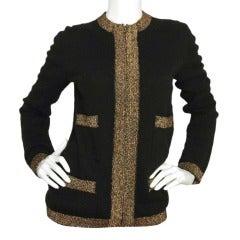 CHANEL Black Cashmere Zippered Cardigan W. Gold Thread Trim Sz. 40 c. 2004