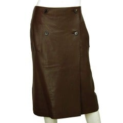Hermes Brown Leather Wrap Skirt - Sz 8