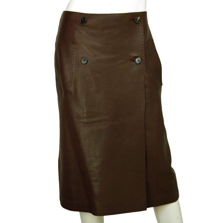 hermes brown leather wrap skirt sz 8 at 1stdibs