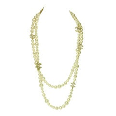 CHANEL Double Strand Pearl Necklace With Crystal CC Charms c. 2010