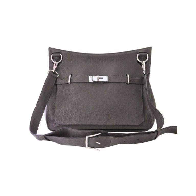 HERMES GRAPHITE CLEMENCE LEATHER JYPSIERE CROSSBODY GM BAG at 1stdibs