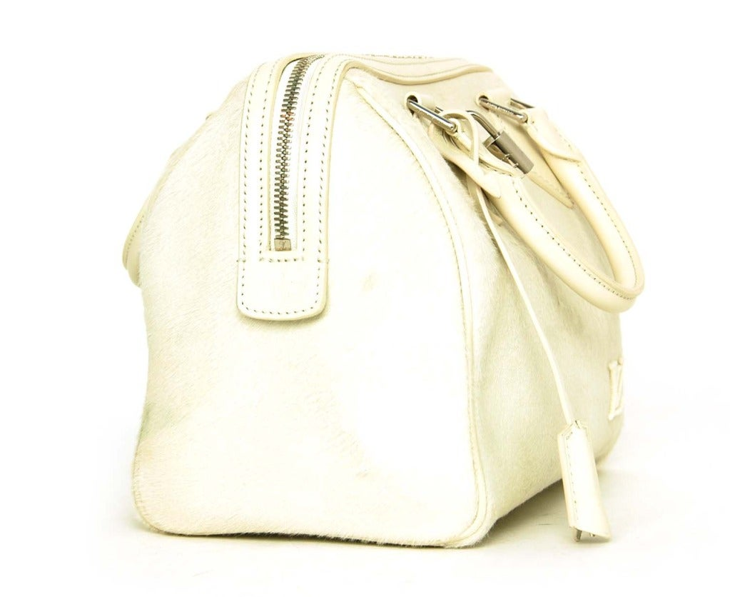 Louis Vuitton LV 2013 Limited Edition Ivory Pony Hair Speedy Cube Bag 2