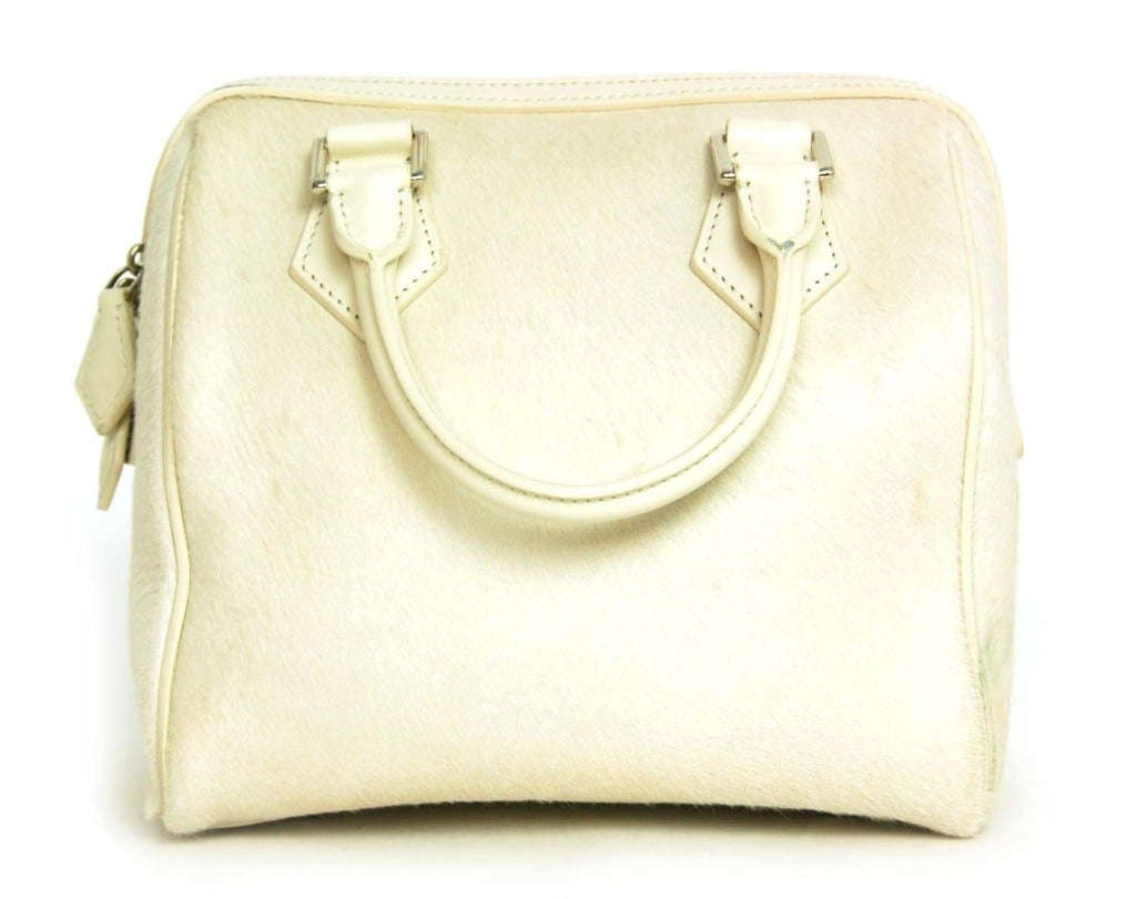 Louis Vuitton LV 2013 Limited Edition Ivory Pony Hair Speedy Cube Bag 3
