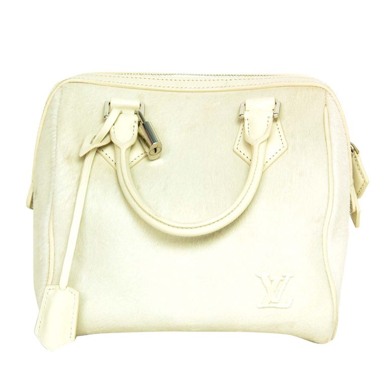 Louis Vuitton LV 2013 Limited Edition Ivory Pony Hair Speedy Cube Bag 1