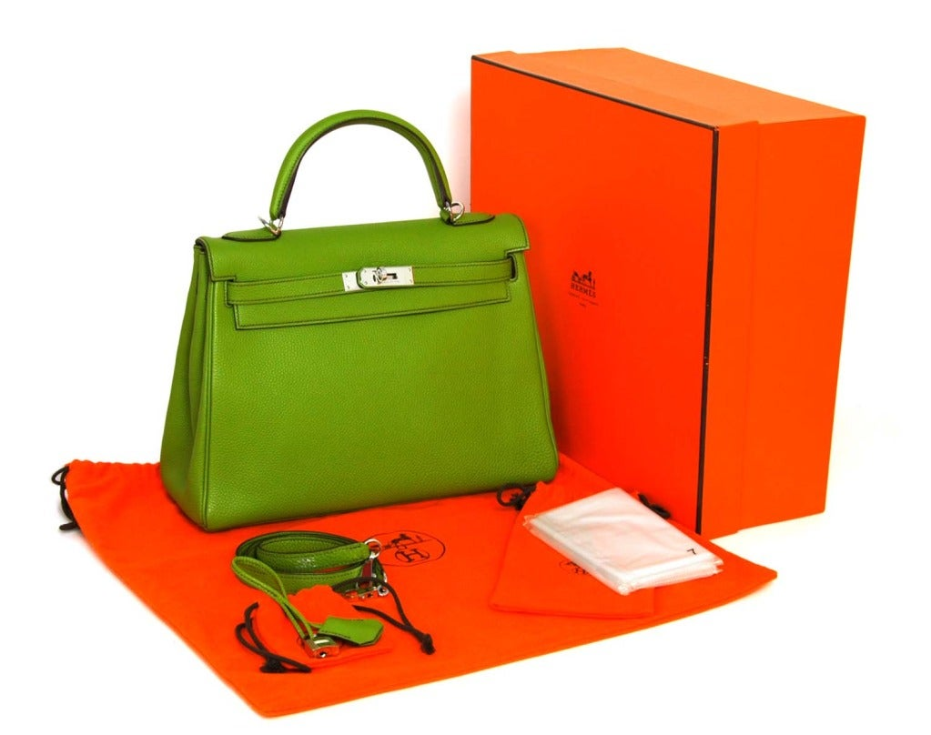 hermes birkin 30 bag vert anis chevre phw faux ostrich purse. Black Bedroom Furniture Sets. Home Design Ideas