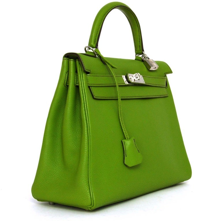 Hermes Vert Anis Green Togo Leather 32cm Kelly Bag With Palladium 3