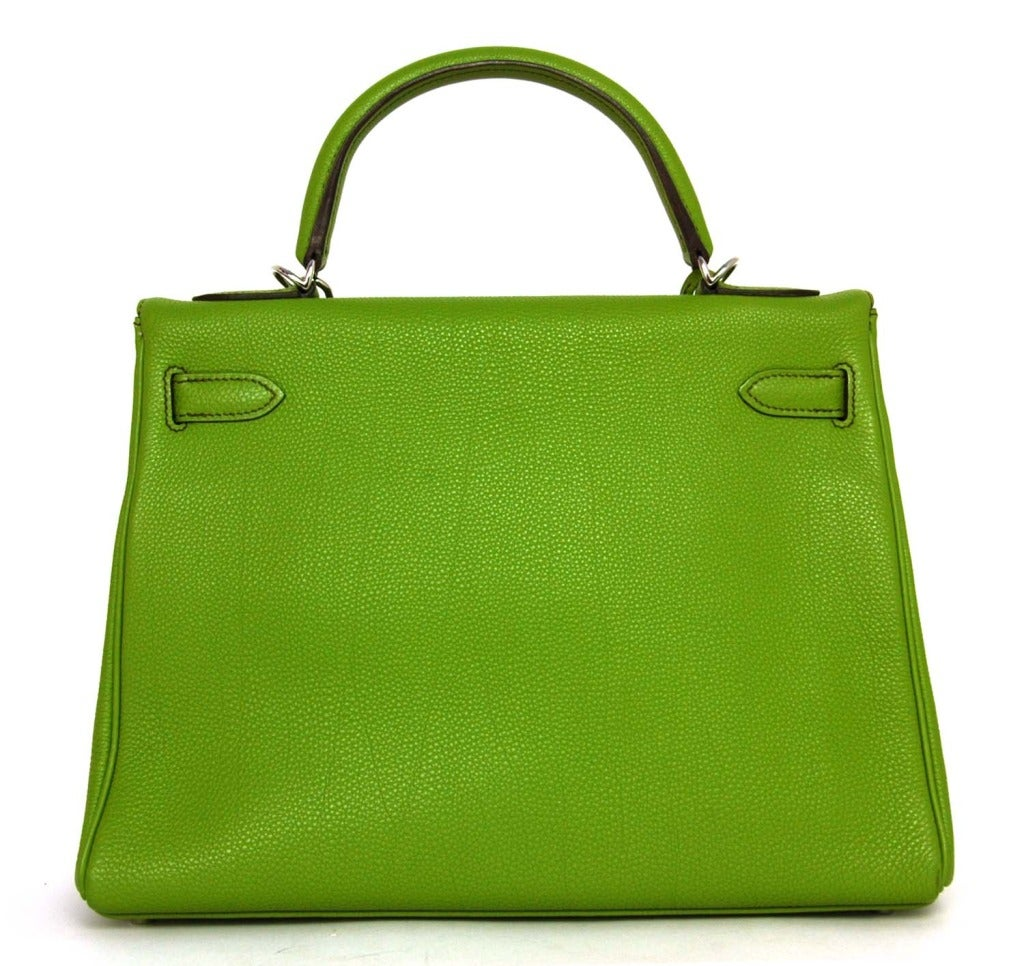 Hermes Vert Anis Green Togo Leather 32cm Kelly Bag With Palladium 4