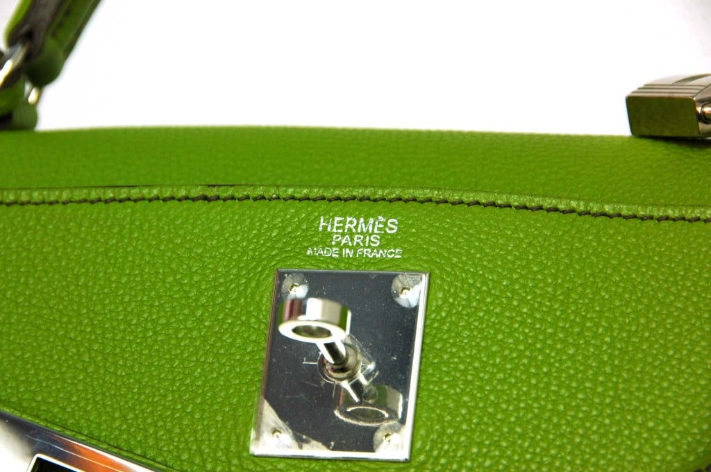 Hermes Vert Anis Green Togo Leather 32cm Kelly Bag With Palladium 5
