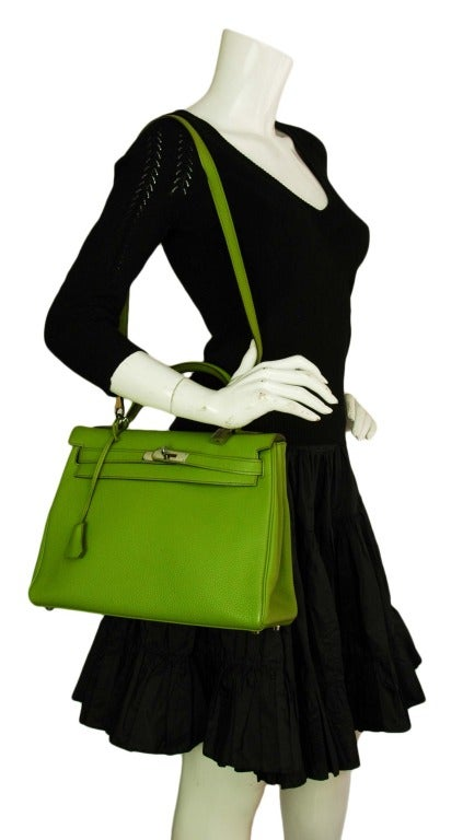 Hermes Vert Anis Green Togo Leather 32cm Kelly Bag With Palladium 8
