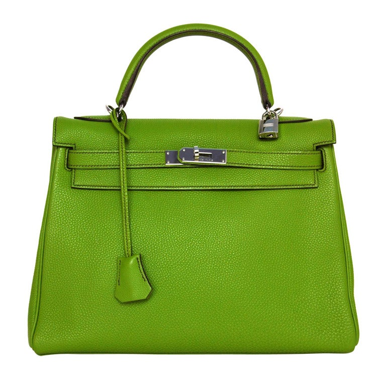 Hermes Vert Anis Green Togo Leather 32cm Kelly Bag With Palladium 1