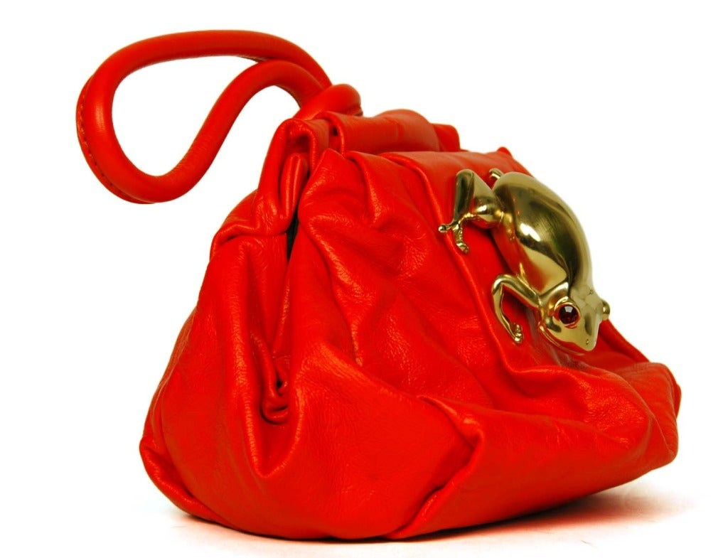 Marc Jacobs Red Leather Rana Clutch W Goldtone Frog Rt