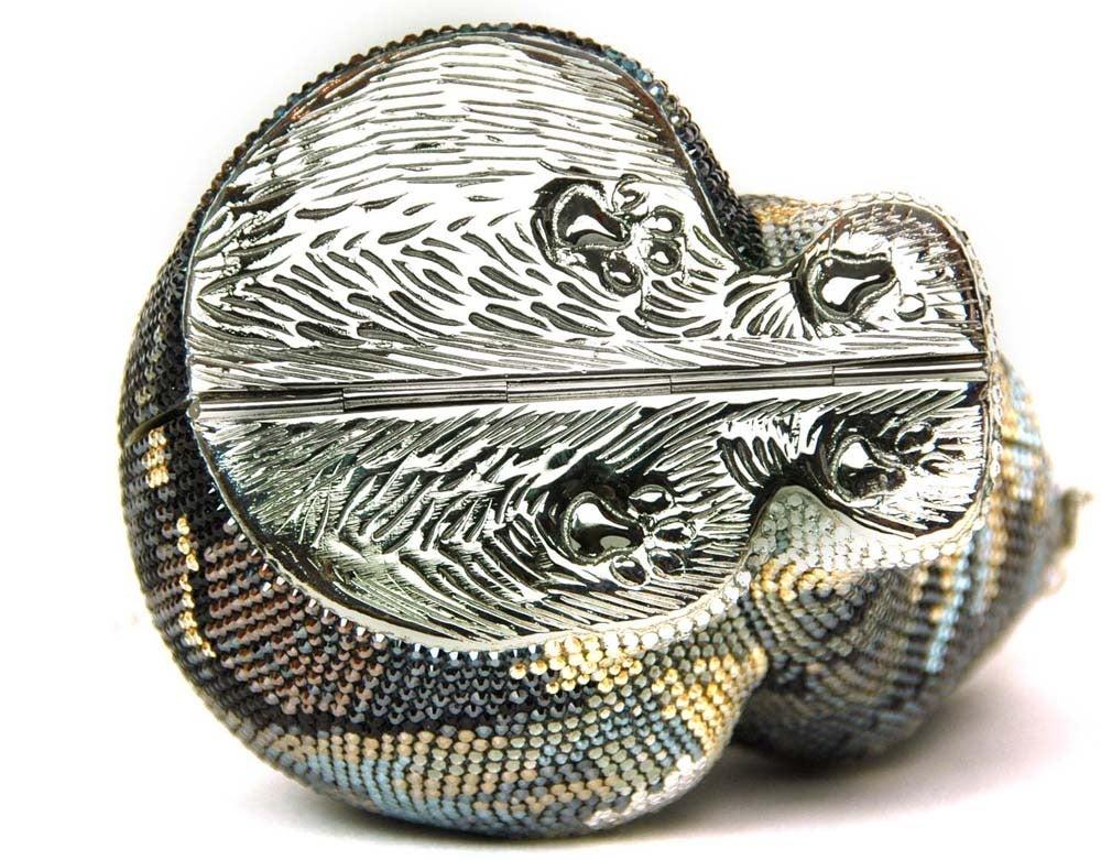 Judith Leiber $3,695 Crystal Cat Minaudiere Clutch Bag w. Chain New in Box 8