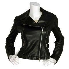 ALAIA Cropped Black Leather Asymmetrical Zip Motorcycle Jacket Sz. 38