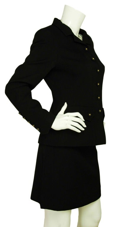 CHANEL Black Skirt Suit With Screw Buttons - Sz 10 2
