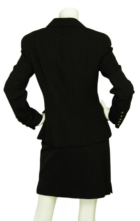 CHANEL Black Skirt Suit With Screw Buttons - Sz 10 3
