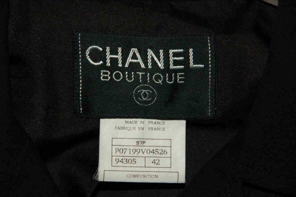 CHANEL Black Skirt Suit With Screw Buttons - Sz 10 5