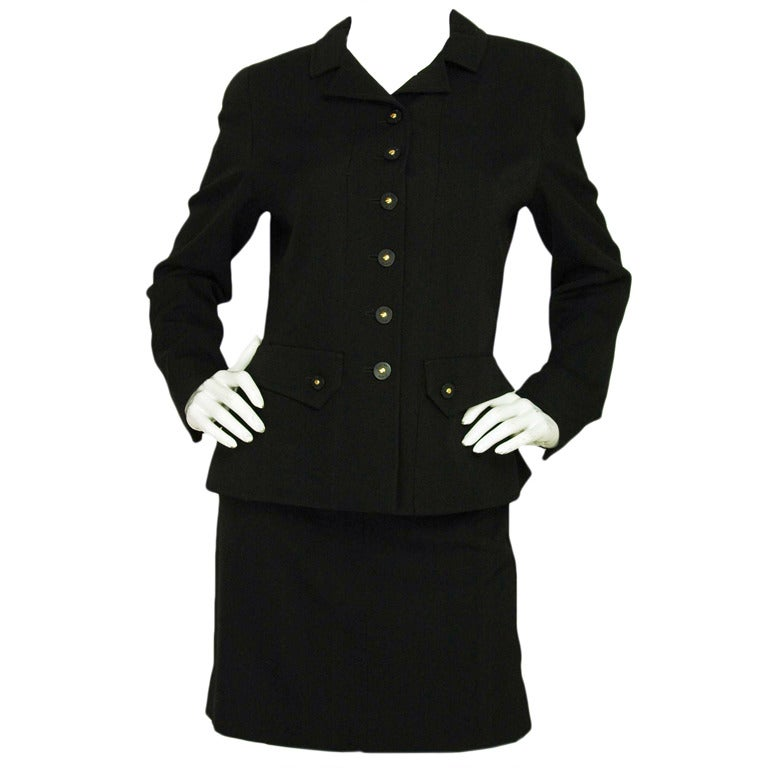CHANEL Black Skirt Suit With Screw Buttons - Sz 10 1