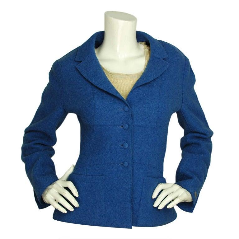 CHANEL Cobalt Blue Boucle Blazer W. Shoulder Pads Sz. 36 c ...