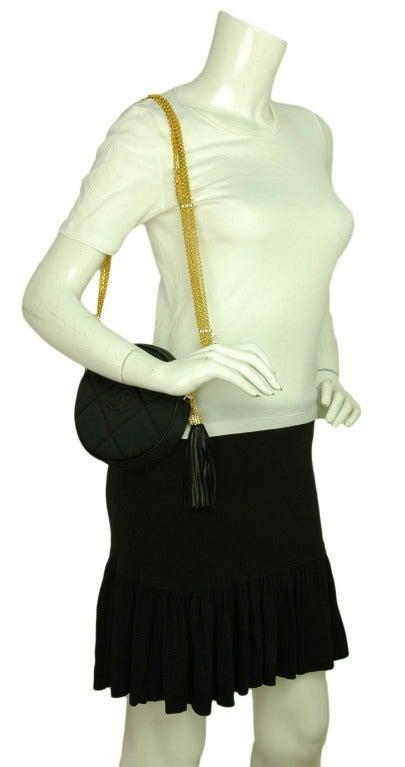 CHANEL Black Satin Circular Quilted Bag W. Gold Chain Strap & Tassel c. 1986 10