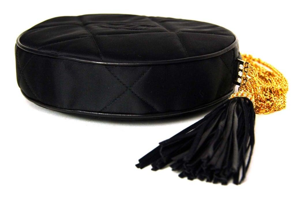 CHANEL Black Satin Circular Quilted Bag W. Gold Chain Strap & Tassel c. 1986 3