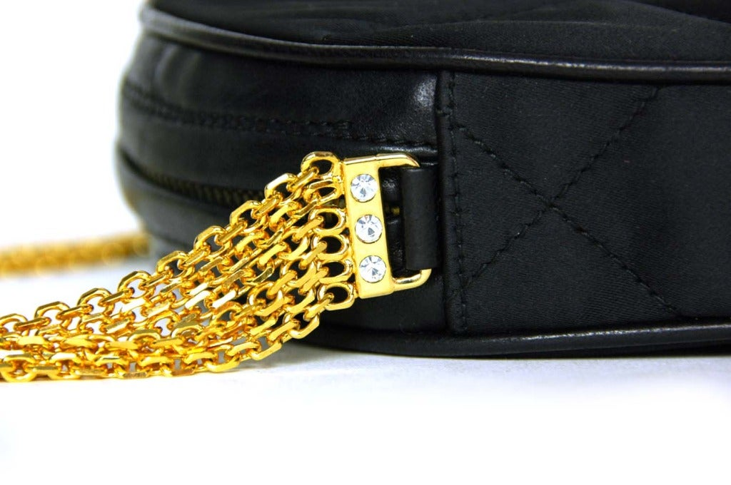 CHANEL Black Satin Circular Quilted Bag W. Gold Chain Strap & Tassel c. 1986 4
