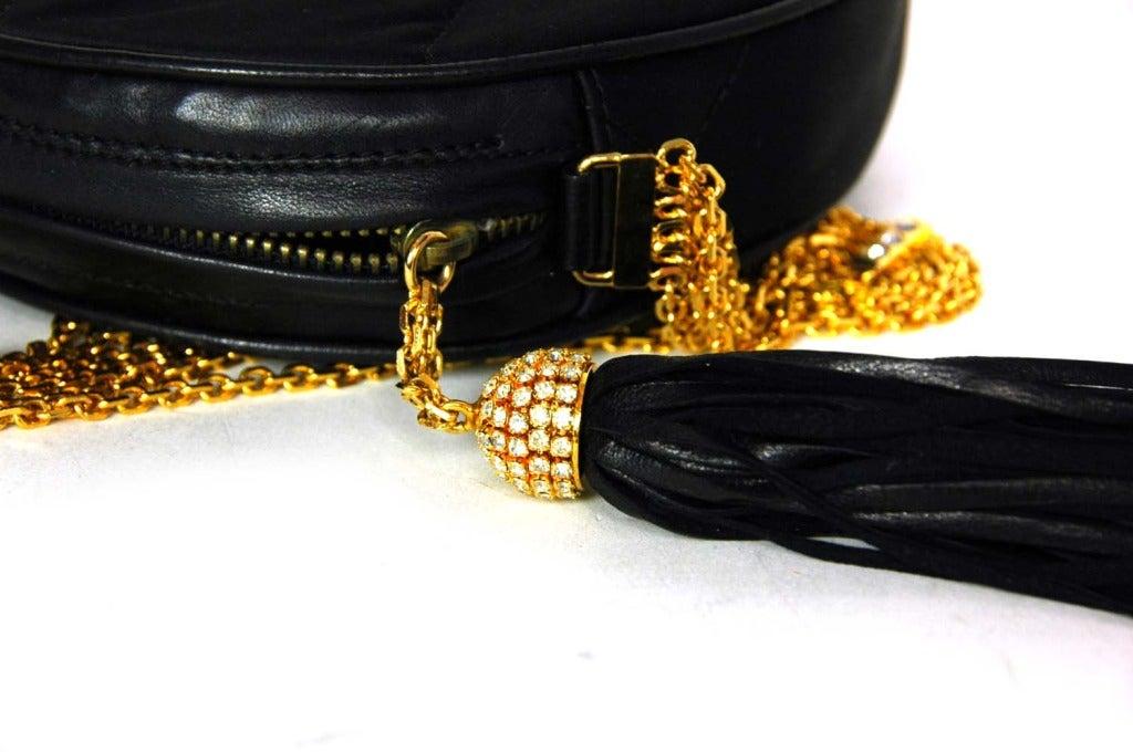 CHANEL Black Satin Circular Quilted Bag W. Gold Chain Strap & Tassel c. 1986 5