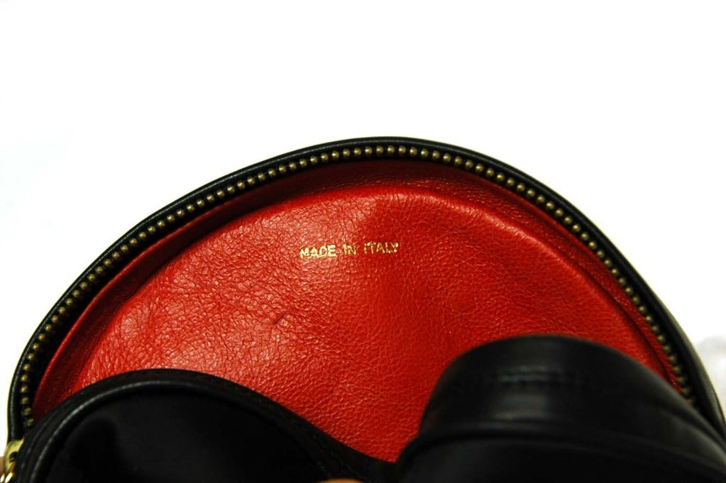 CHANEL Black Satin Circular Quilted Bag W. Gold Chain Strap & Tassel c. 1986 7