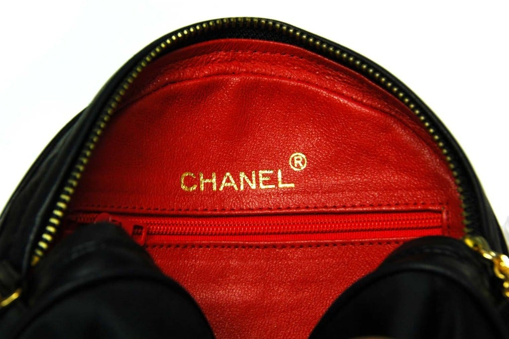 CHANEL Black Satin Circular Quilted Bag W. Gold Chain Strap & Tassel c. 1986 8